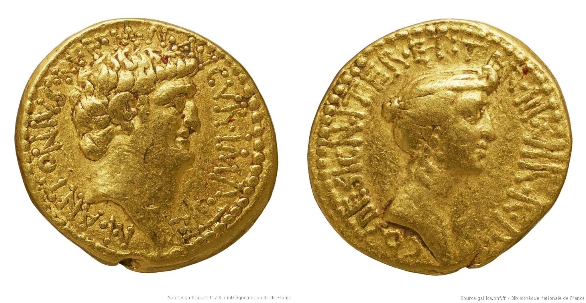 1729AN – Aureus Marc Antoine et Octavie – Marcus Antonius