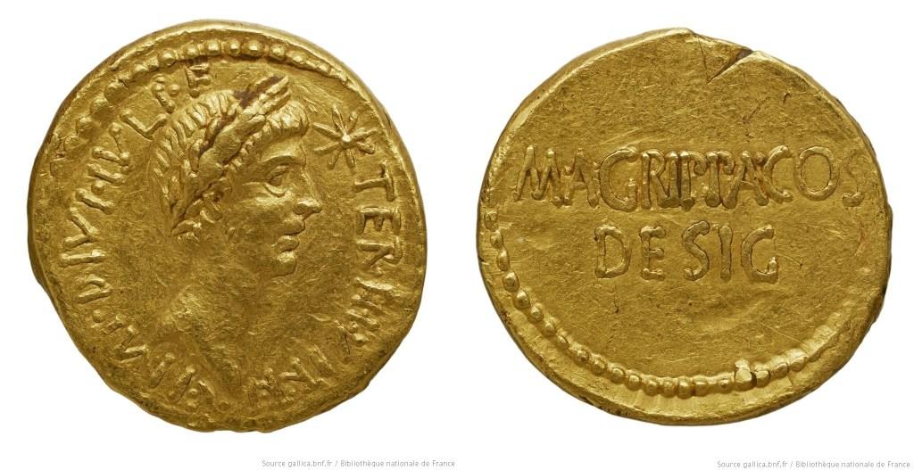 Read more about the article 1730JU – Aureus Octave et Agrippa – Marcus Vipsanius Agrippa