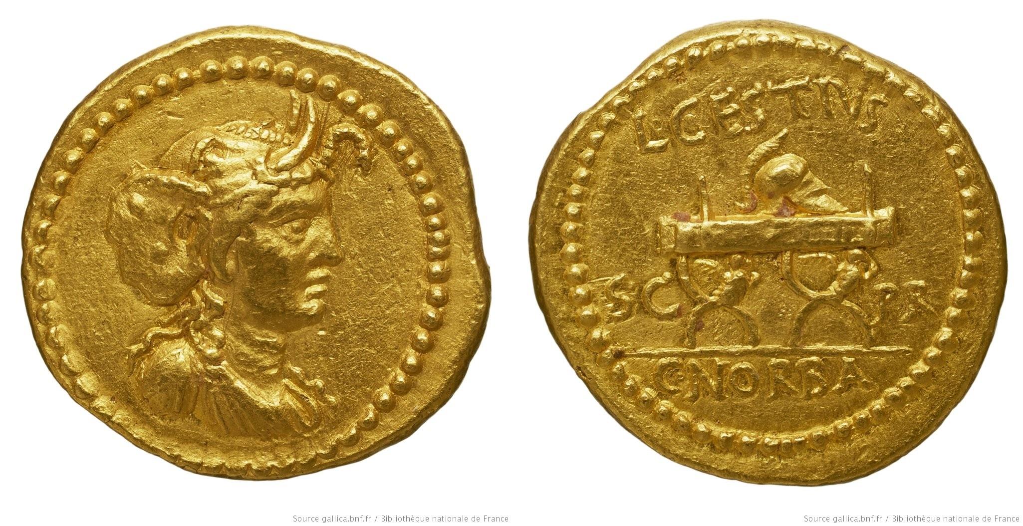 1574CE – Aureus Cestia – L. Cestius et C. Norbanus