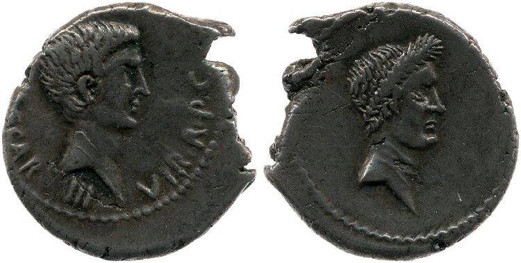 1573JU – Denier Octave – Caius Julius Cæsar Octavianus