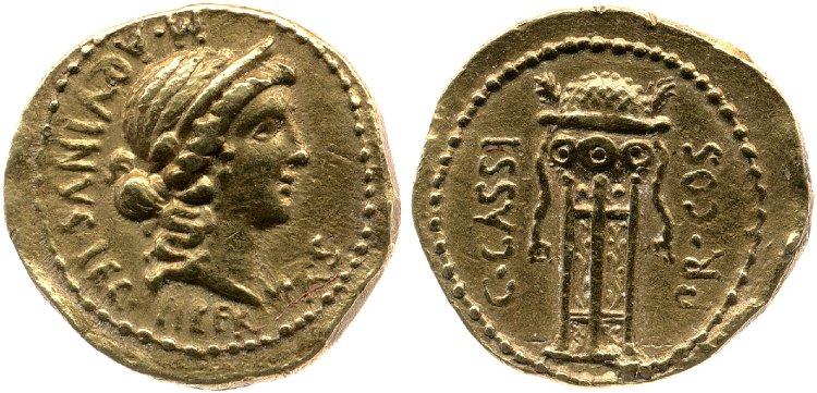 1632CA – Aureus Cassius – Caius Cassius Longinus