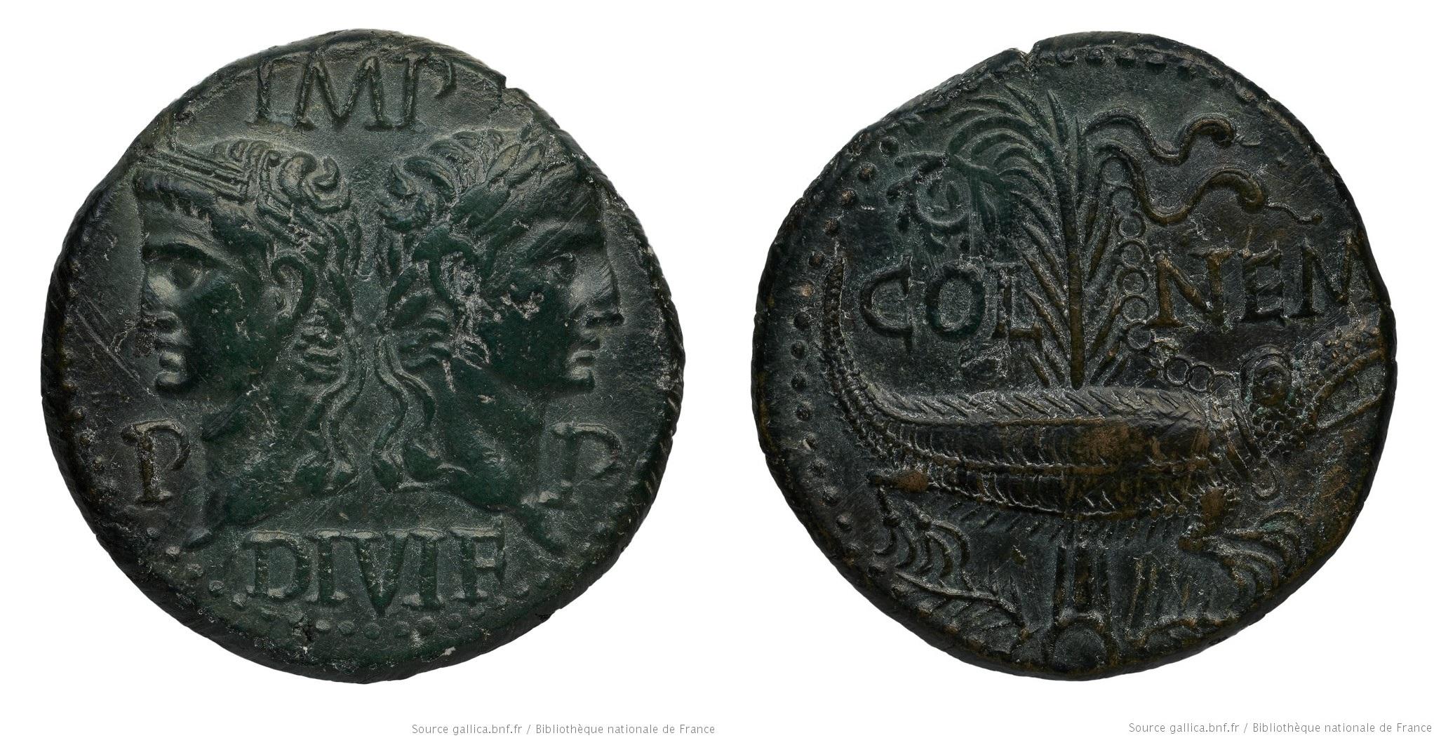 2558AU – Dupondius Octave et Agrippa – Nîmes (Nemausus)