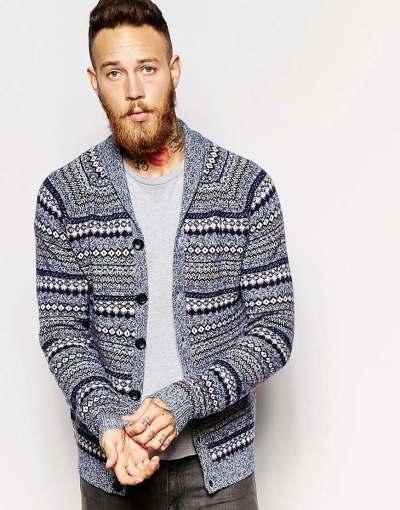 ASOS - Cardigan col châle en laine d'agneau majoritaire à motif jacquard multicolore