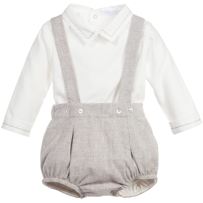 Laranjinha Boys white and grey Baby Grow