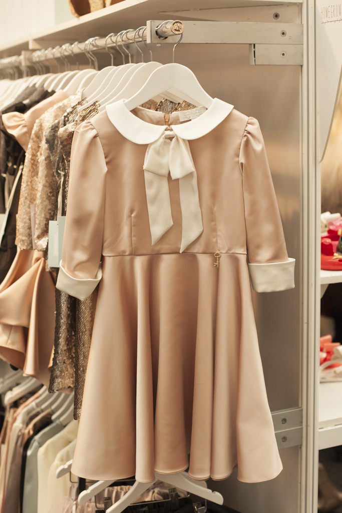 Silk cream and putty dress