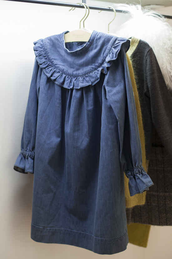 Bonpoint Denim Frill Collar Dress