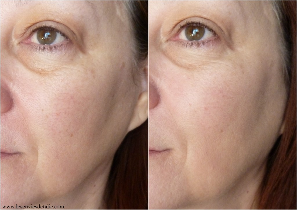 Avant/Après application du Tinted primer Myskin Perfector Essence