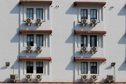 Air conditioners on building