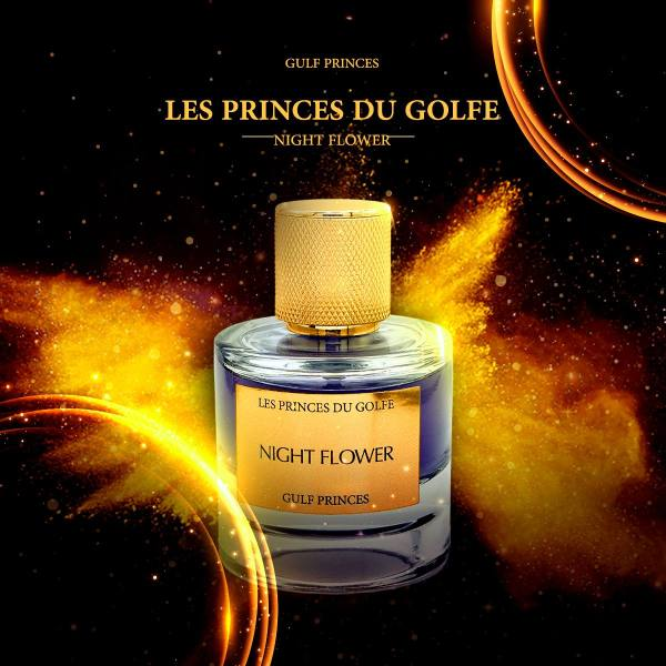 le parfum oriental Night Flower de la marque Les Princes du Golfe sur fond doré et étoiles