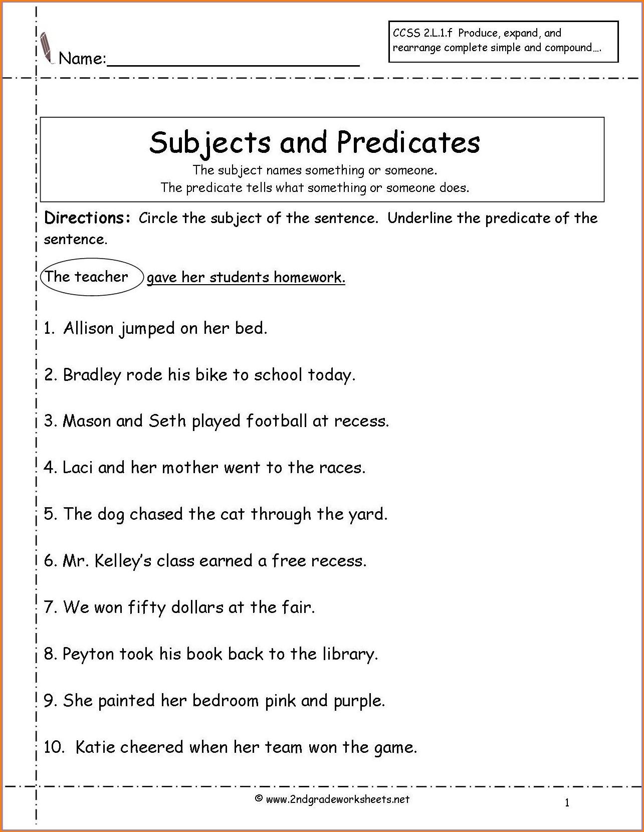 Worksheet On Subject Pronouns For Grade 2