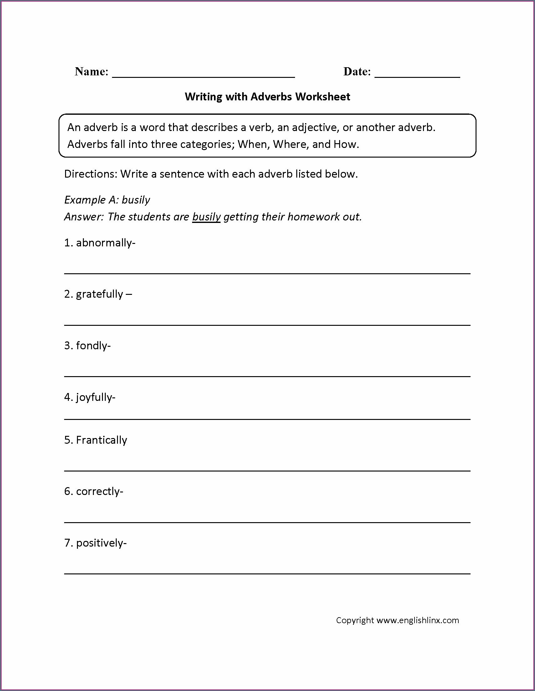 5th Grade Worksheet On Adverbs For Class 5