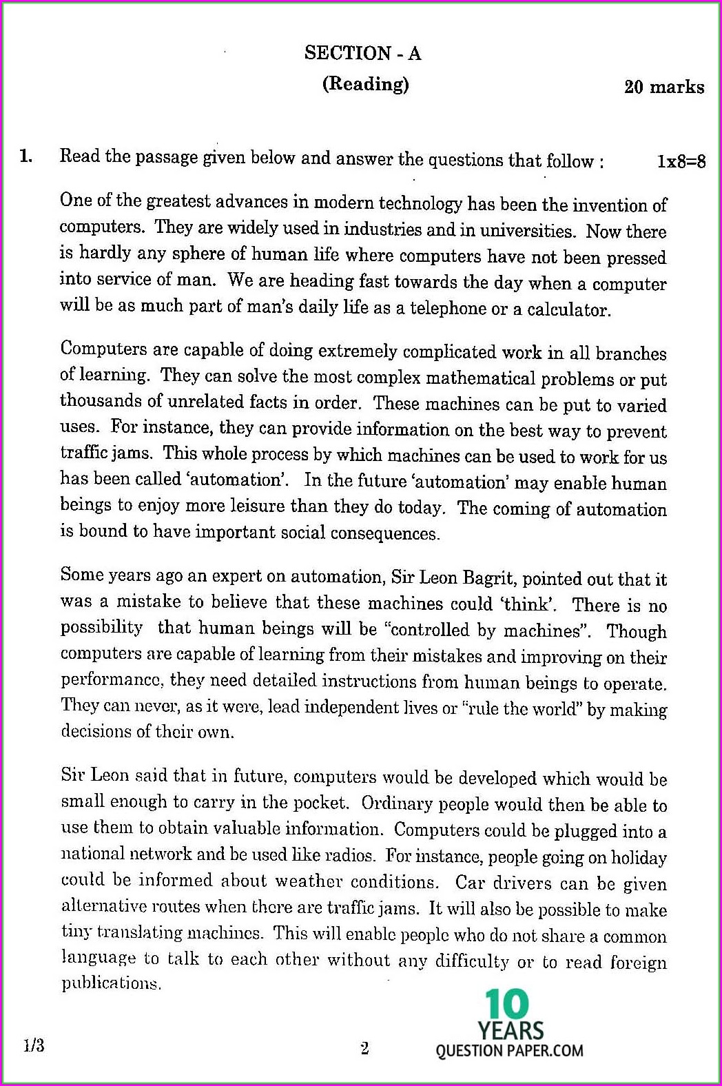 Comprehension Unseen Passage For Class 3 Cbse