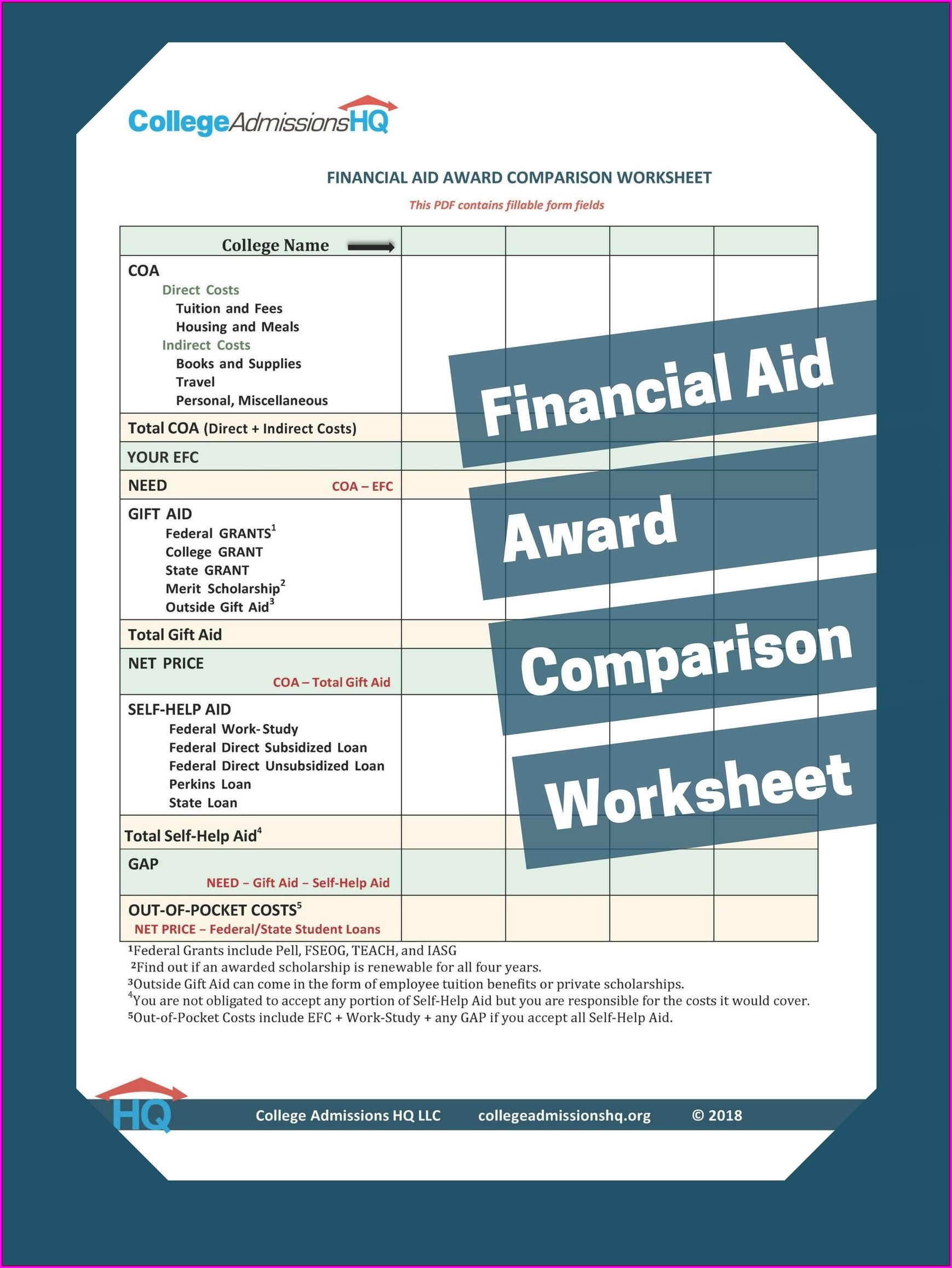 Financial Aid Vocabulary Worksheet