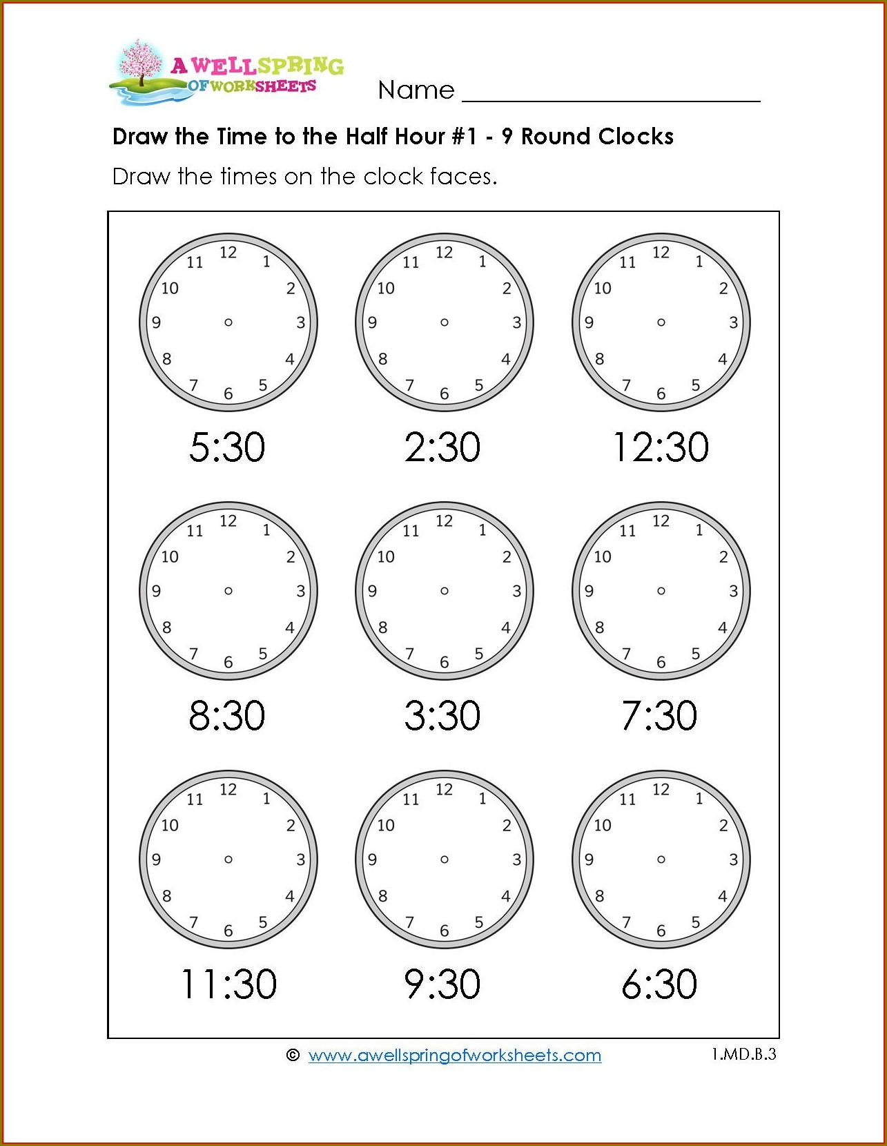Telling Time Worksheet Half Past