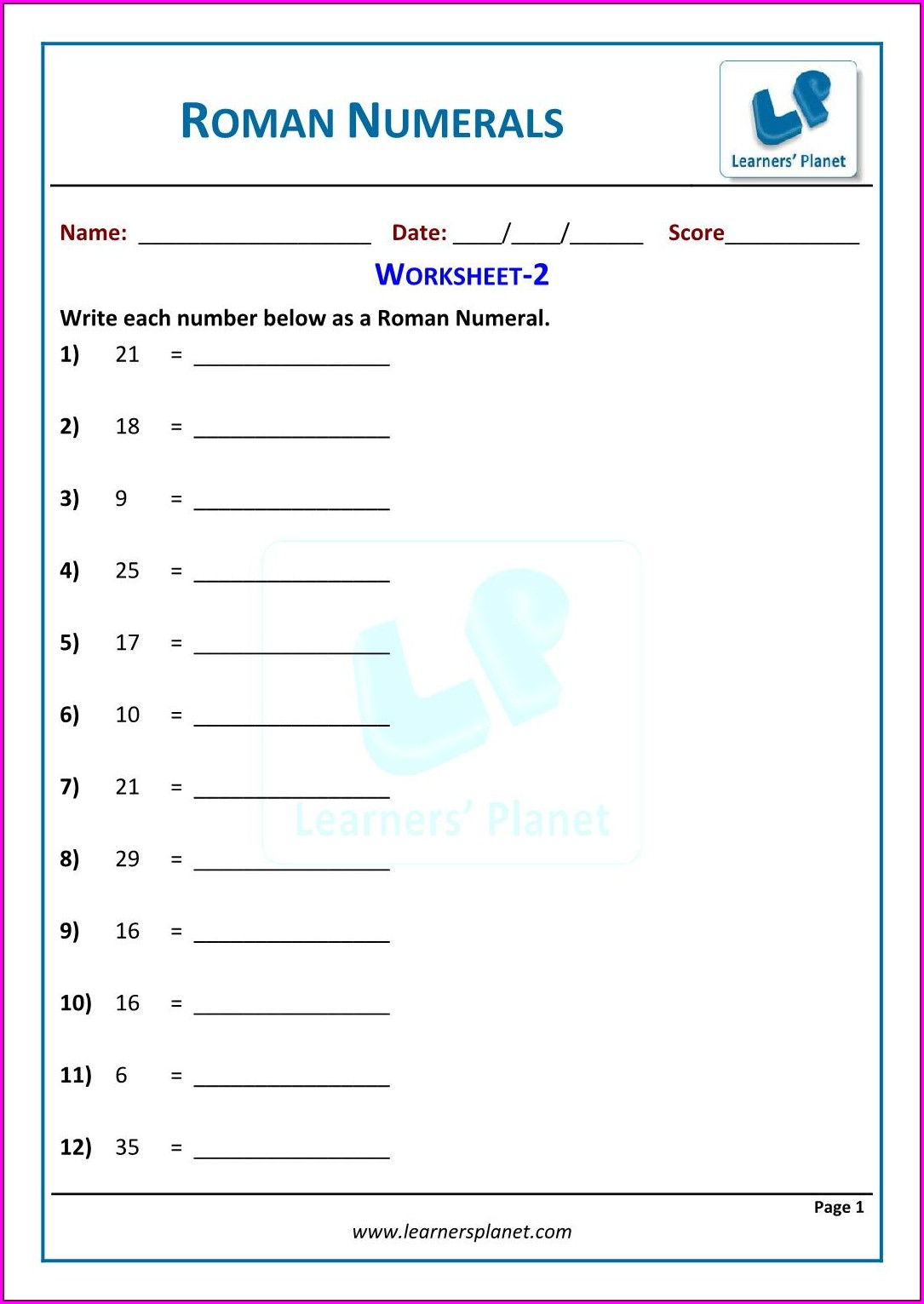 Adding And Subtracting Roman Numerals Worksheet