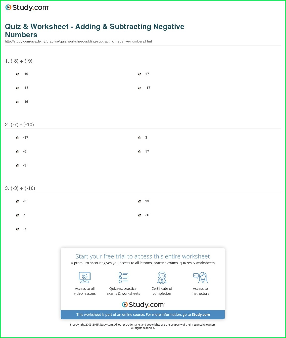 Negative Numbers Worksheet Year 7