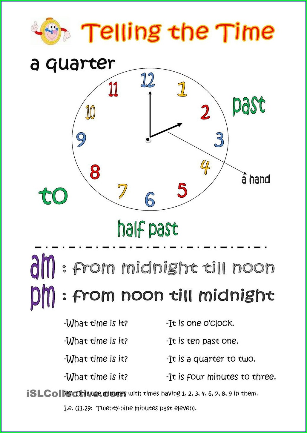 Telling Time To The Exact Minute Worksheets