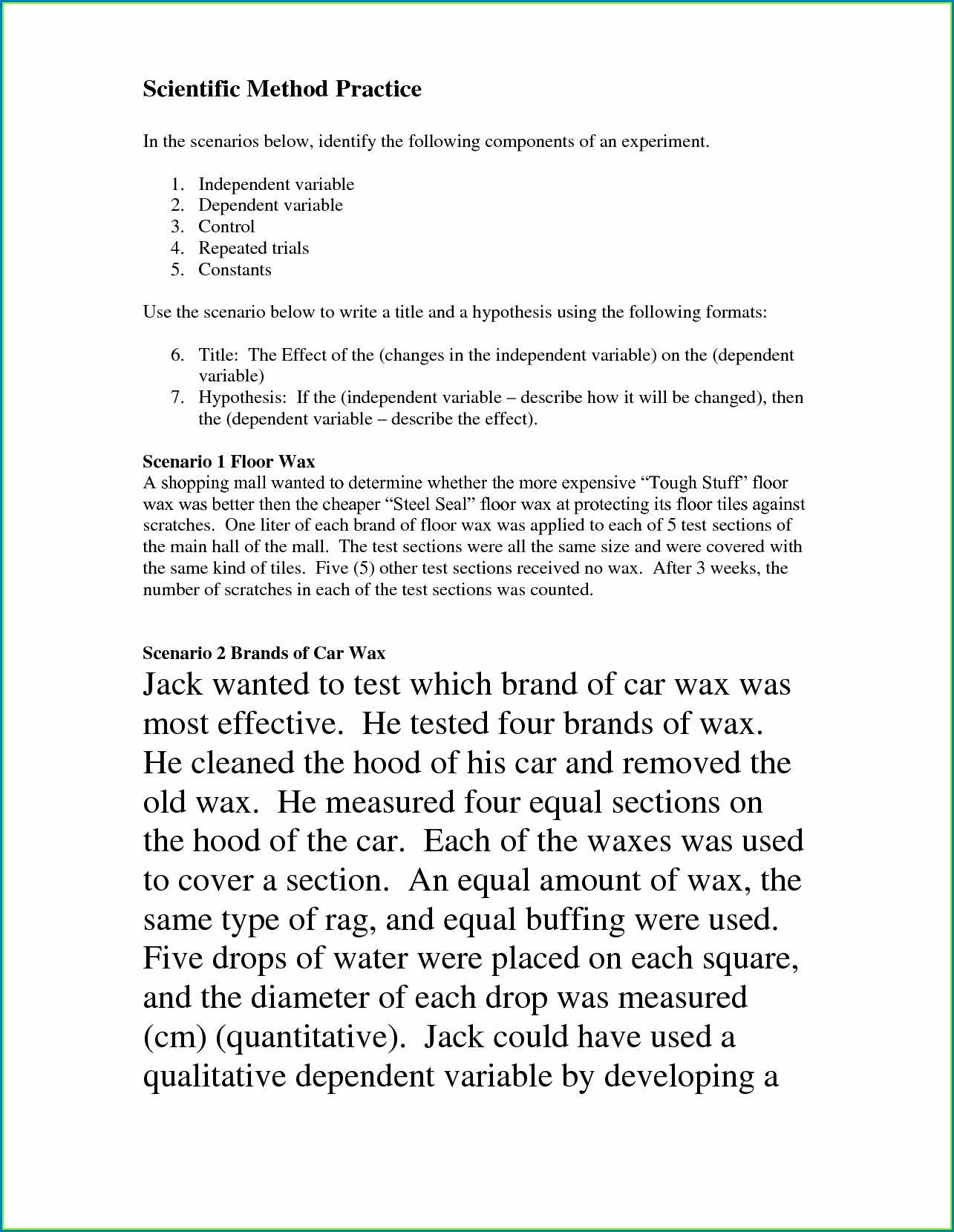 Scientific Method Controls And Variables Worksheet Answers