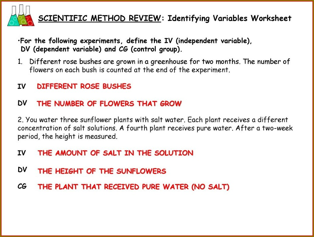 Scientific Method And Variables Worksheet