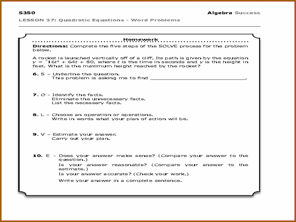 Linear Equations Word Problems Worksheet Free