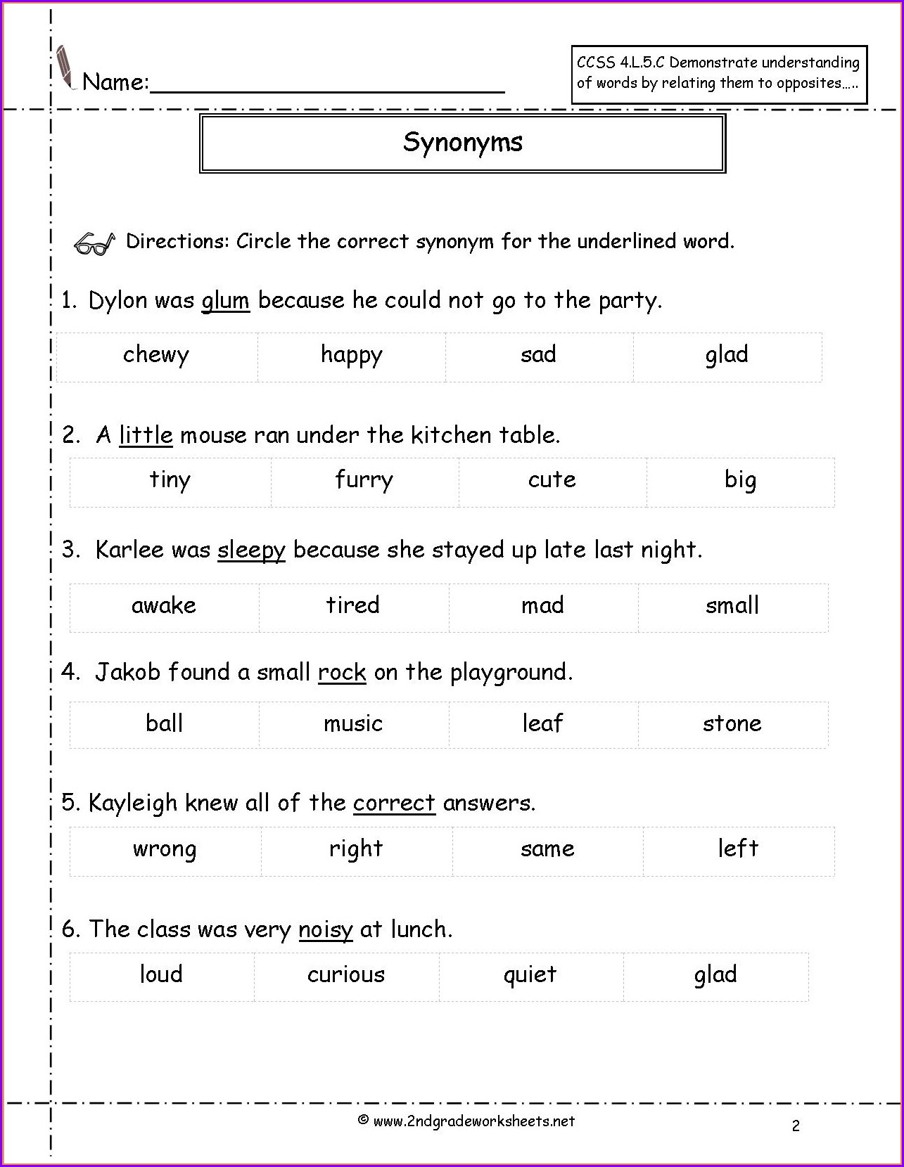 Second Grade Synonyms Worksheet