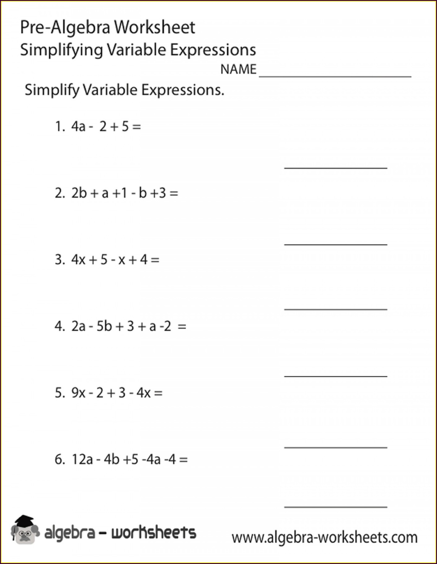 7th Grade Algebra Worksheets Grade 7 With Answers