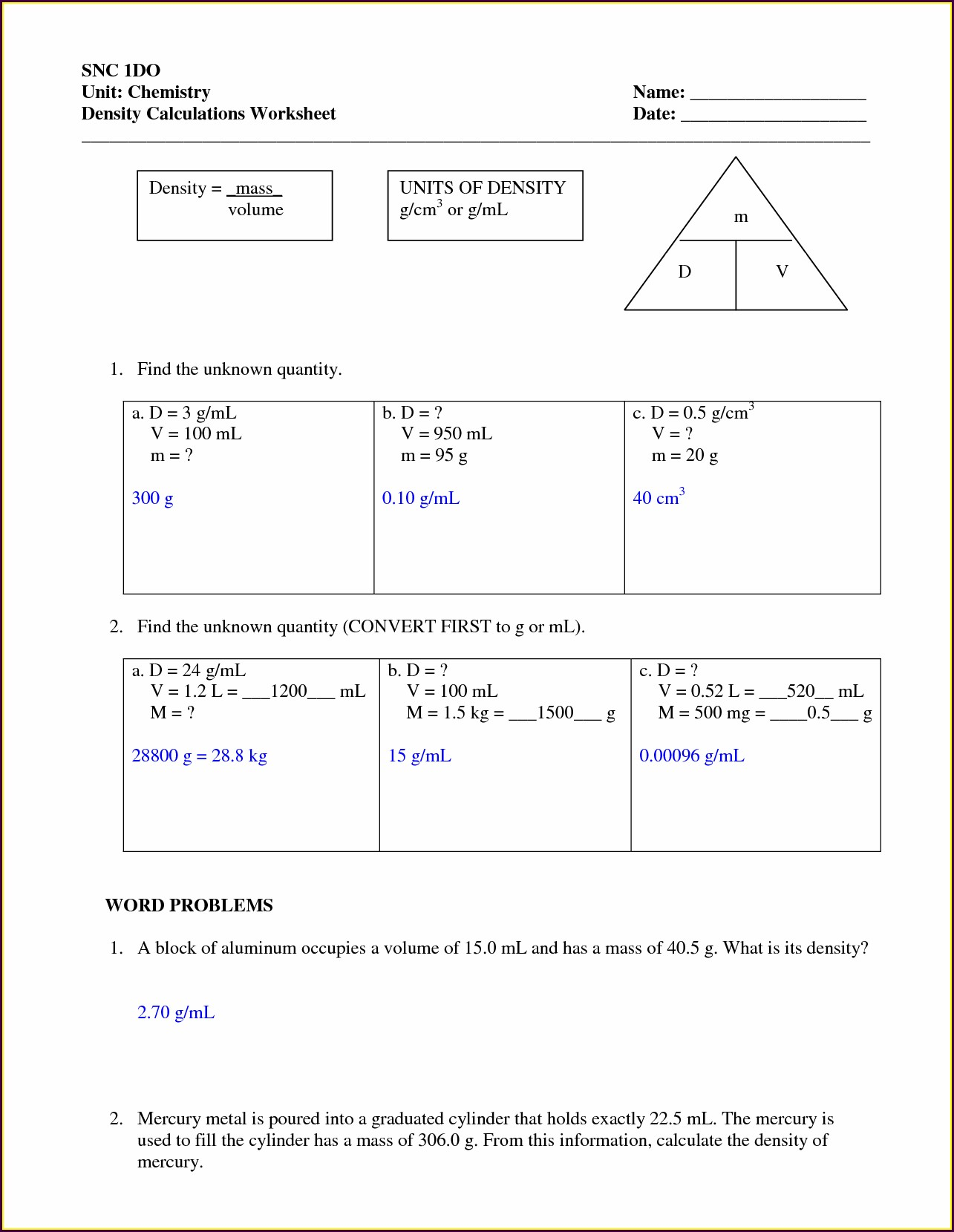 Density Problems Worksheet And Answers