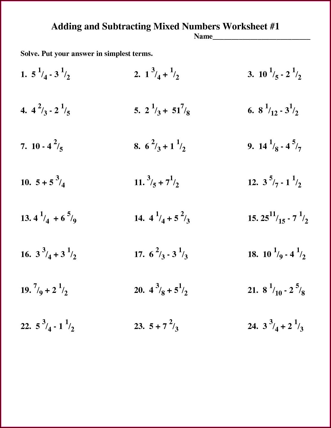 Adding And Subtracting Mixed Numbers Worksheet 5th Grade
