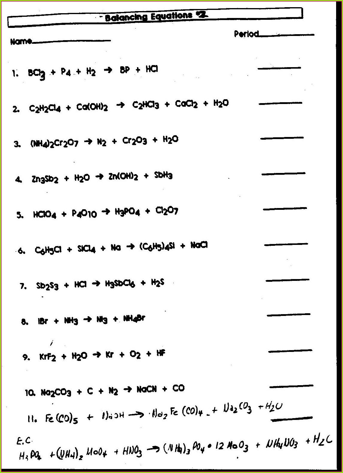 Science Balancing Equations Worksheet With Answers
