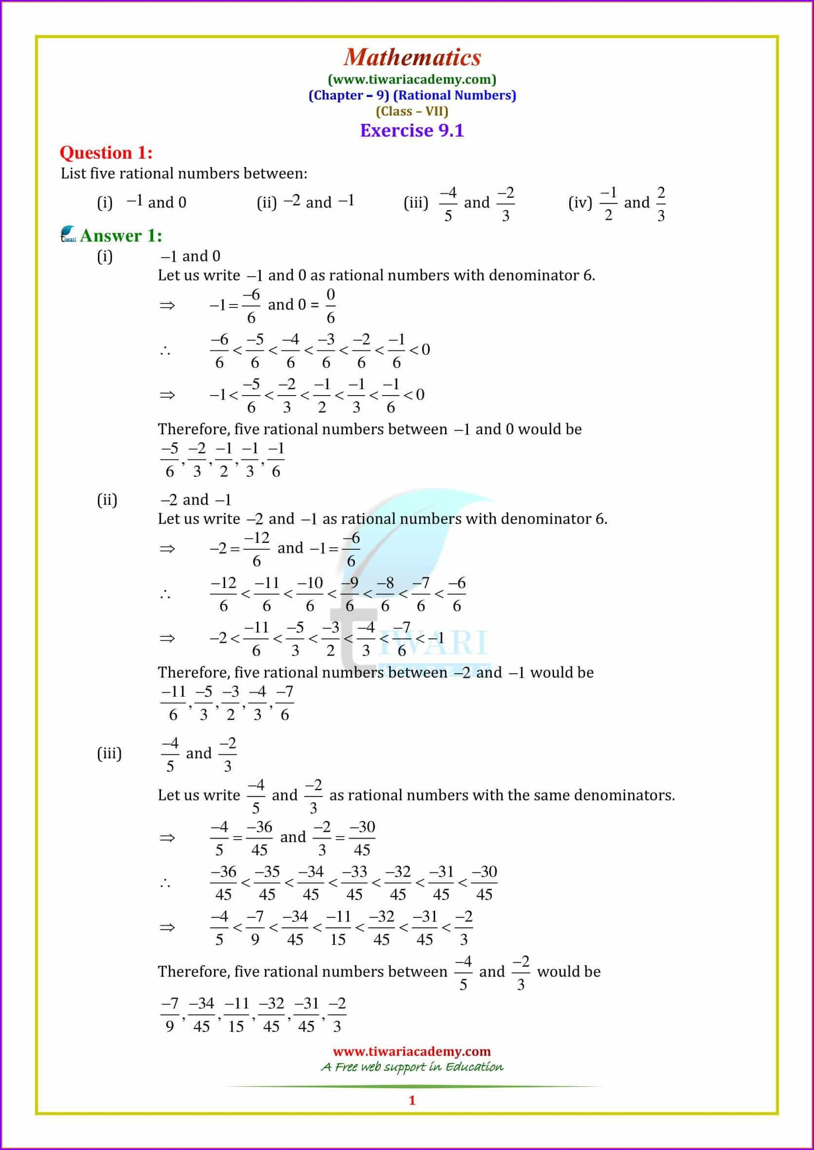 Division Of Integers Worksheet Grade 6