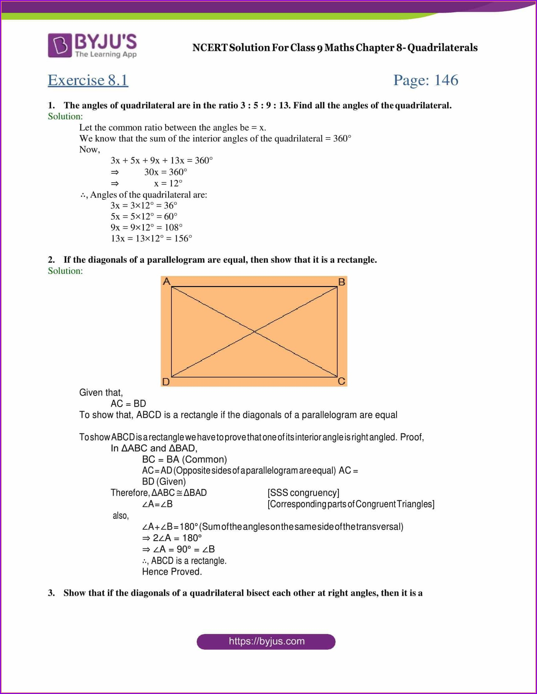 Grade 9 Quadrilaterals Worksheet