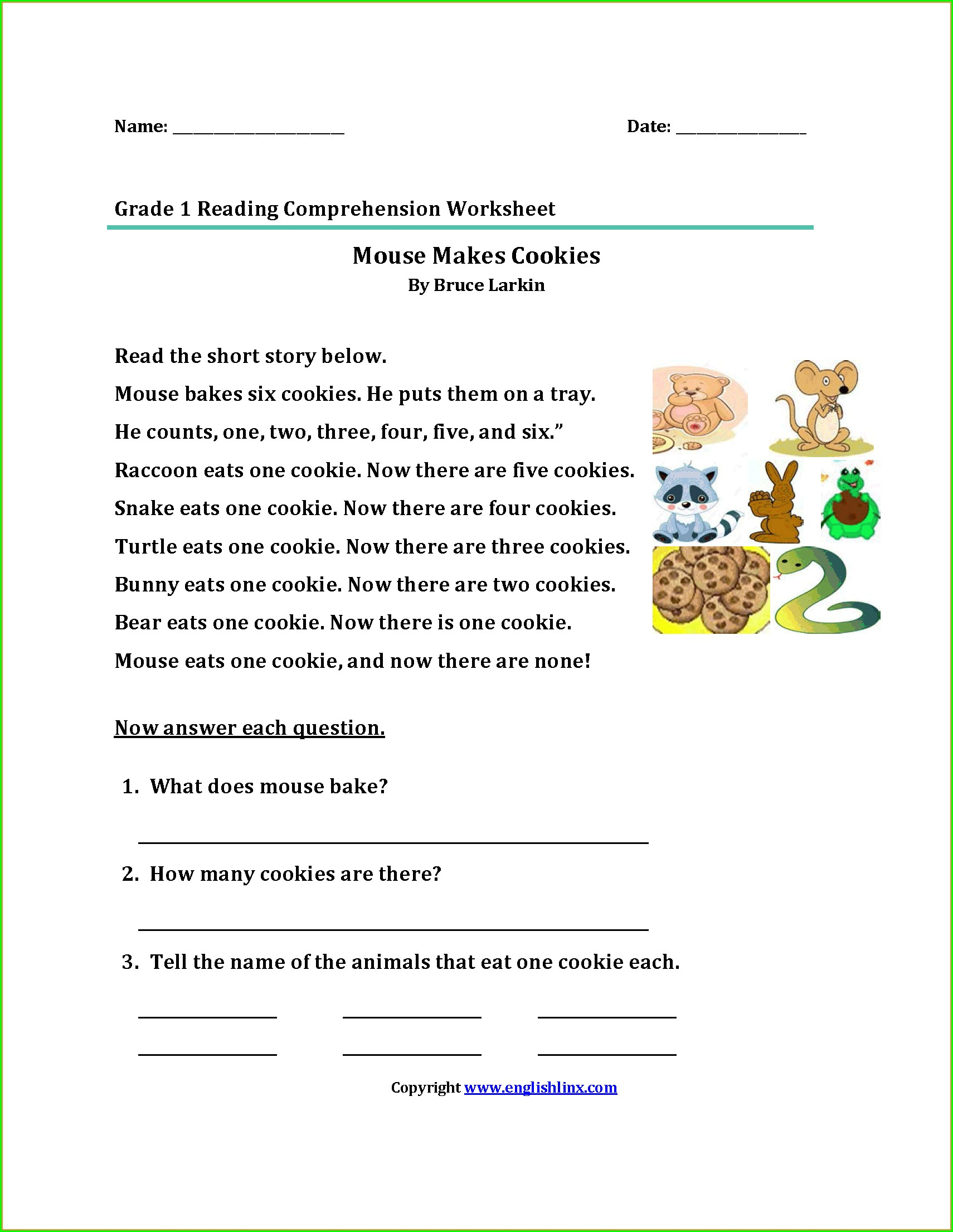 Kindergarten English Reading Worksheets