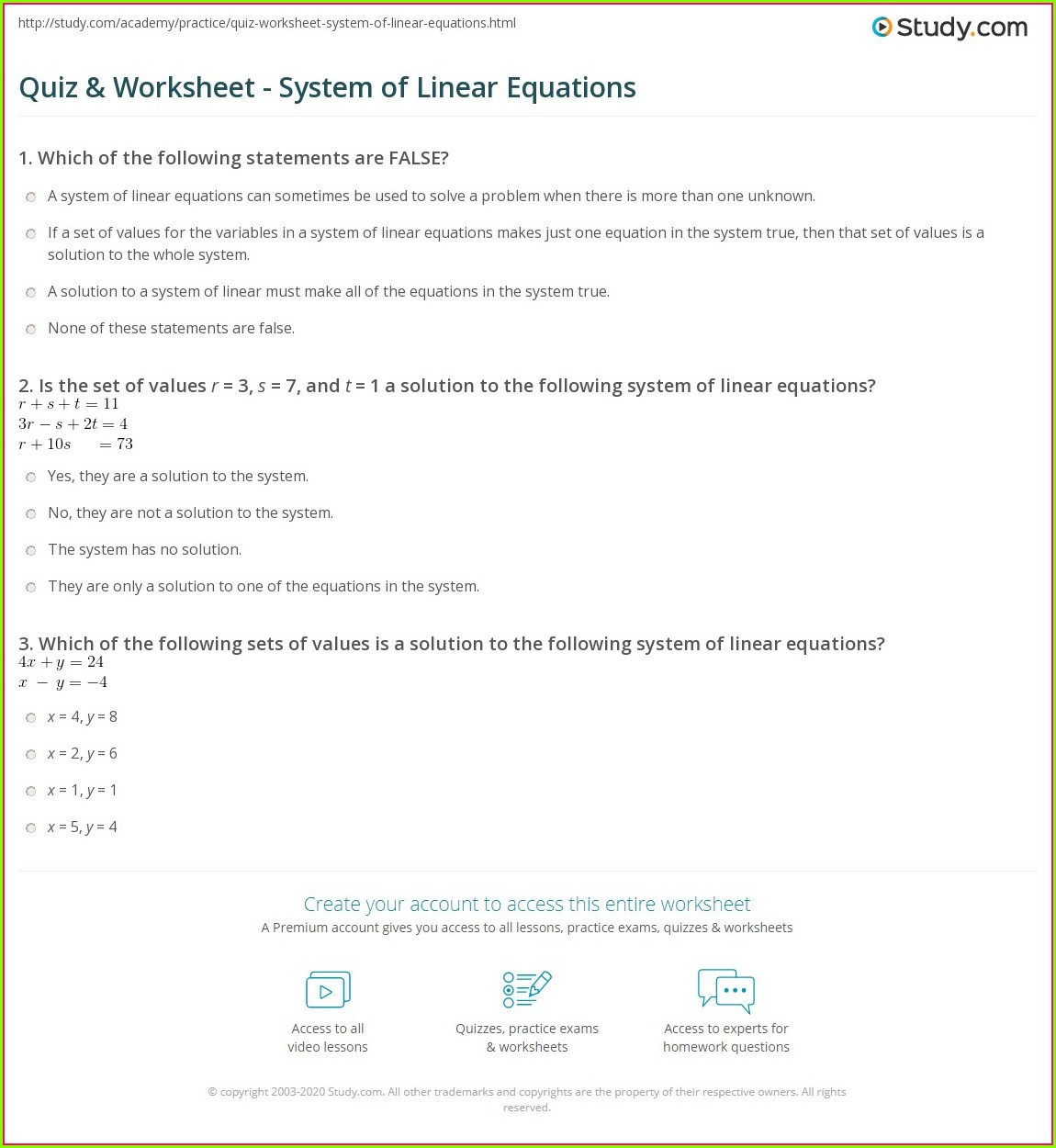 Systems Of Equations Word Problems Multiple Choice