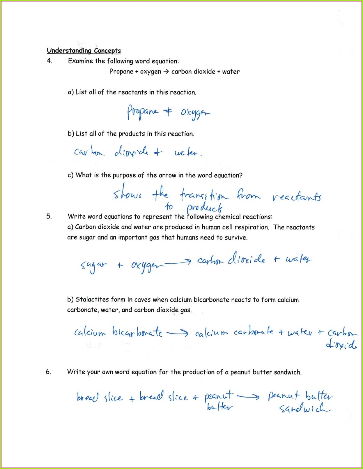Worksheet 1 Word And Skeleton Equations Answers