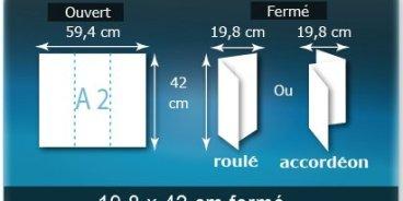 Dépliants / Plaquettes ouvert A2 420x594mm - fermé 198x420mm 3 volets plié 2 plis type de pliage roulé ou accordéon en Z