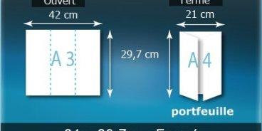 Dépliants / Plaquettes ouvert A3 420x297mm - fermé A4 210X297mm 3 volets plié 2 plis type de pliage fenêtre
