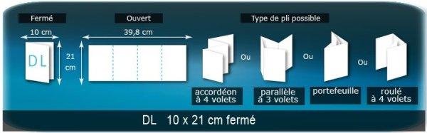 Dépliants / Plaquettes ouvert 398x210mm - fermé 100x210mm plié 3 plis 4 volets type de pliage roulé ou accordéon en Z