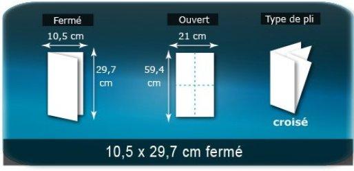 Dépliants / Plaquettes ouvert 594x210 mm - fermé 105x297 mm plié 3 plis 4 volets type de pliage croisé
