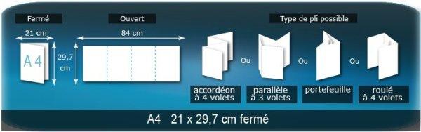 Dépliants / Plaquettes ouvert A4 210x297mm - fermé A6 105x148 mm plié 3 plis 4 volets type de pliage croisé
