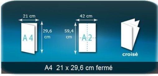 Dépliants / Plaquettes ouvert A2 420x594mm - fermé A4 210x297 mm plié 3 plis 4 volets type de pliage croisé
