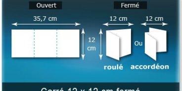 Dépliants / Plaquettes ouvert 357x120mm - fermé 120x120 mm 3 volets carré plié 2 plis type de pliage roulé ou accordéon en Z