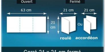 Dépliants / Plaquettes ouvert 630x210mm - fermé 210x210mm 3 volets carré plié 2 plis type de pliage roulé ou accordéon en Z
