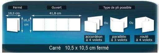 Dépliants / Plaquettes ouvert 418x105mm - fermée 105x105mm plié 3 plis 4 volets type de pliage roulé ou accordéon en Z