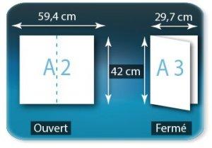 Dépliants / Plaquettes A2 420x594mm ouvert - A3 297x420 fermé 1 pli