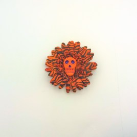 Barrette mexicaine paquerette orange zèbrée noire