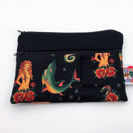 Trousse double zip tattoo black