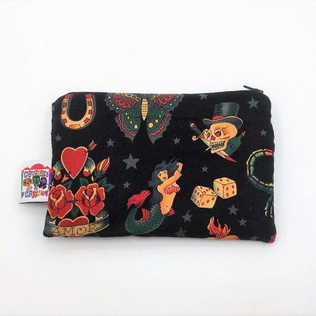 Trousse double zip tattoo black2
