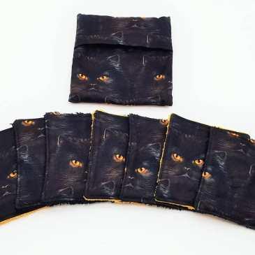 Lingette lavable chats noirs