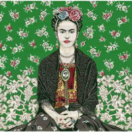 Coussin Frida Kahlo fond vert
