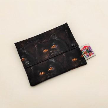 Pochette à savon chats angora noirs